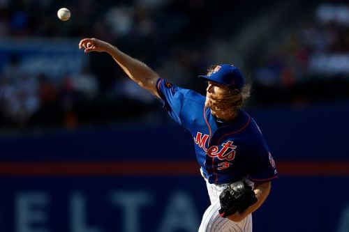 The New York Mets' Noah Syndergaard in action against the Miami Marlins