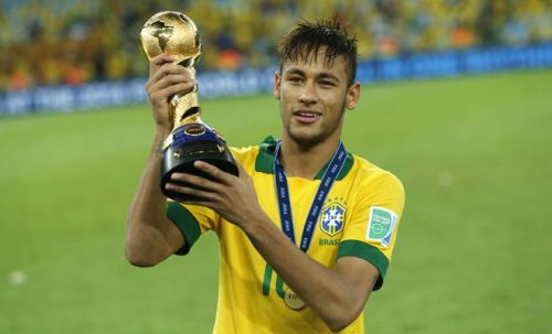 Neymar posing with the 2013 FIFA Confederations Cup