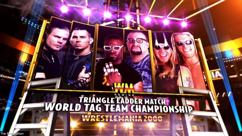Image result for triangle ladder match wrestlemania 2000