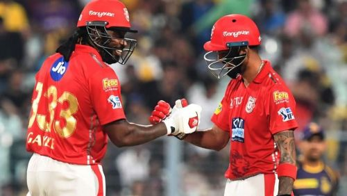 Chris Gayle and KL Rahul will look to pile on the runs against Rajasthan Royals
