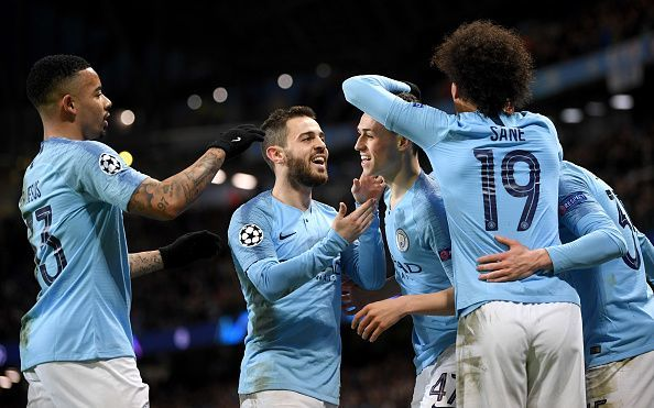 Manchester City cruised to a thumping 7-0 victory against a weak Schalke display at the Ethiad