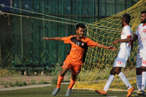 South United FC's Sudipta celebrates his goal