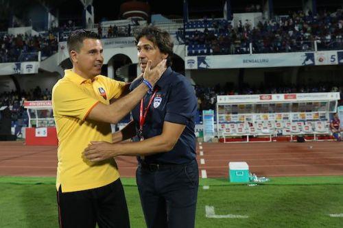 Sergio Lobera (left), FC Goa coach, with Bengaluru FC manager Carles Cuadrat