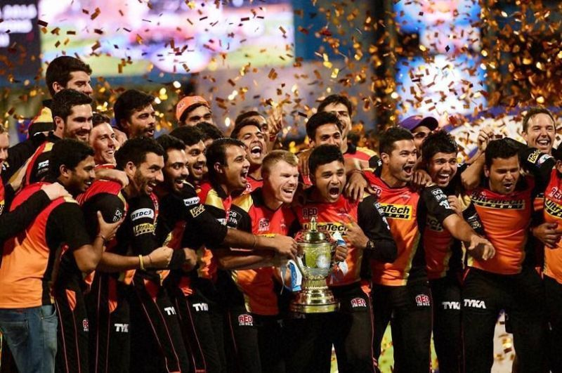Sunrisers Hyderabad with the IPL trophy during their 2016 triumph