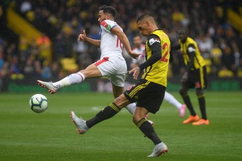 Holebas in his element - whipping his left boot across the ball