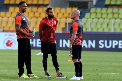 Pune City stars (from left) Robin Singh, Adil Khan and Iain Hume
