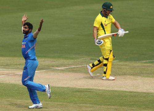 Finch wicket celebration by bumrah