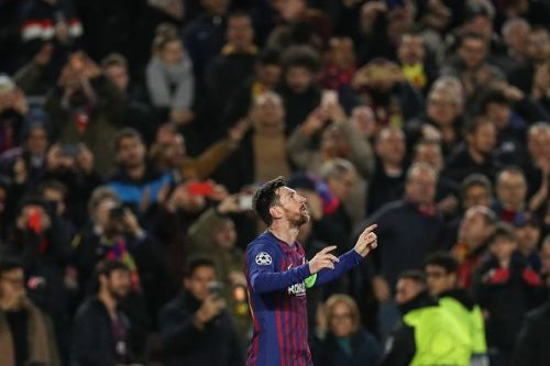 Lionel Messi after scoring against Lyon