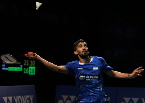 New Delhi: India's Kidambi Srikanth in action against China's Huang Yuxiang during the 2019 India Open badminton tournament in New Delhi, on March 30, 2019. Kidambi Srikanth beat China's Huang Yuxiang 16-21, 21-14, 21-19 on Saturday to enter the final of the tournament. (Photo: IANS)