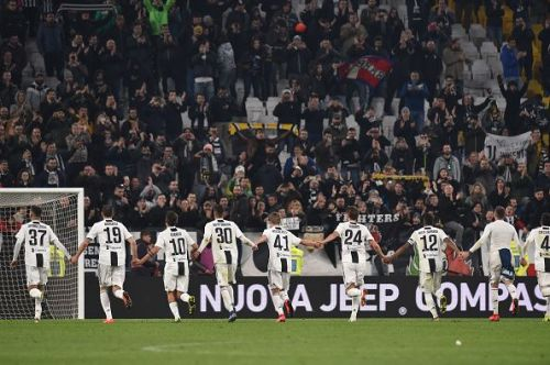 Juventus celebrating their victory against Udinese in the Seria A