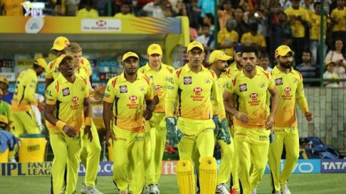 The CSK team getting on the field