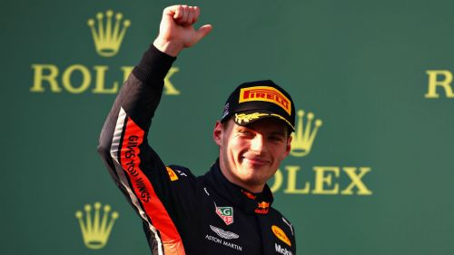 Max Verstappen salutes the crowd after finishing third in the Australian Grand Prix