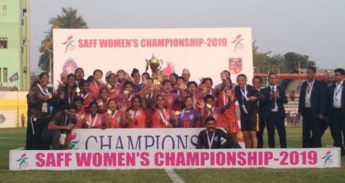 The Indian women's football team celebrates its SAFF Cup win over Nepal