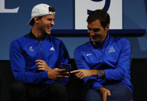 Federer and Thiem sharing a funny moment during the Laver Cup 2018.