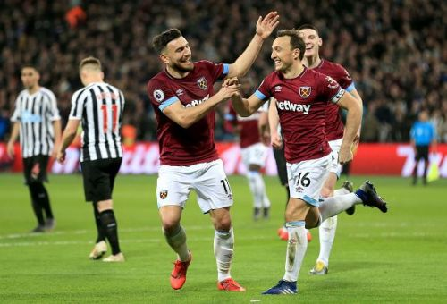 West Ham players celebrating a goal against Newcastle last weekend.