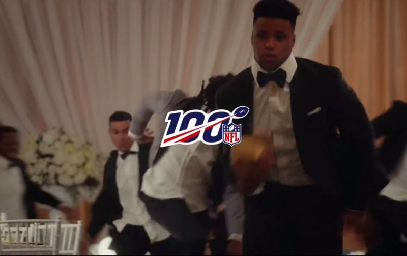 NFL 100 Commercial draws to a close with Saquon Barkley running away with the ball