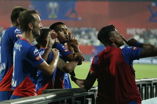 Bengaluru FC's Rahul Bheke (second from right) celebrates after scoring the winner against FC Goa in the ISL Final