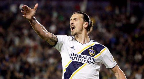 Zlatan Ibrahimovic plays for LA Galaxy in the MLS