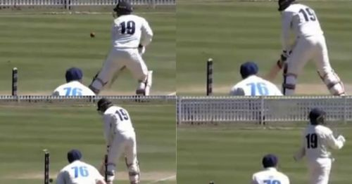 Victoria's James Pattinson couldn't believe his luck as he accidentally guided the ball back onto his own stumps in the JLT Sheffield Shield clash against NSW