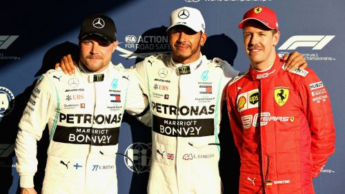 Lewis Hamilton, Valtteri Bottas and Sebastian Vettel after qualifying at Albert Park