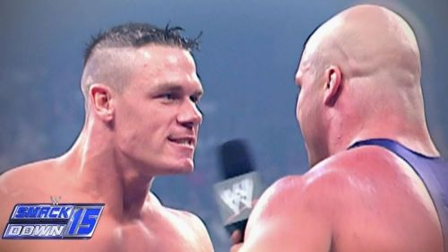 A young John Cena confronting Kurt Angle