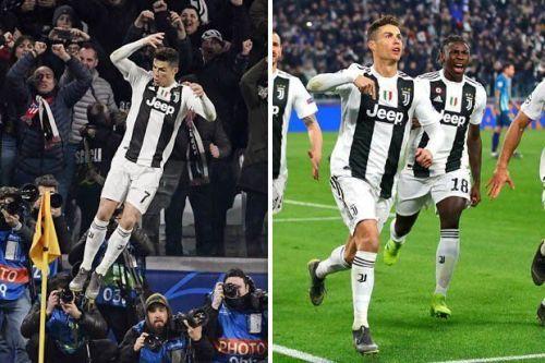 Ronaldo celebrates his goals against Atletico Madrid