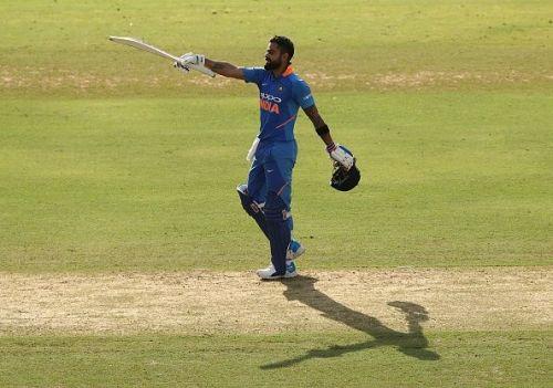 Virat Kohli celebrates century against Australia