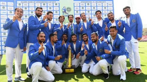 Afghanistan Cricket team celebrating their maiden test win, against Ireland.