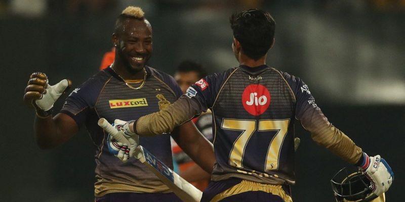 मैच जीतने के बाद रसेल और शुभमन गिल