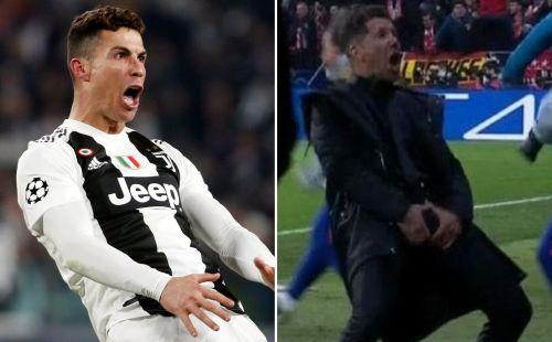 Ronaldo imitated Simeone's celebration from the first-leg at Wanda Metropolitano