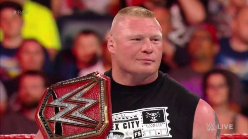 Brock Lesnar with the universal championship