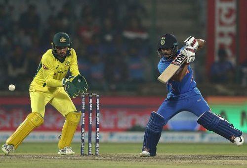 Kedar Jadhav batting India v Australia - ODI Series: Game 5