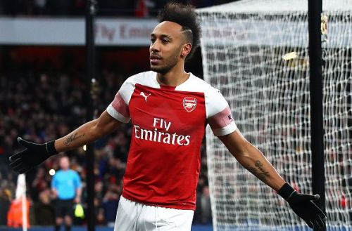 PE Aubameyang celebrates after converting the penalty against Man Utd (Credit - Getty Images)