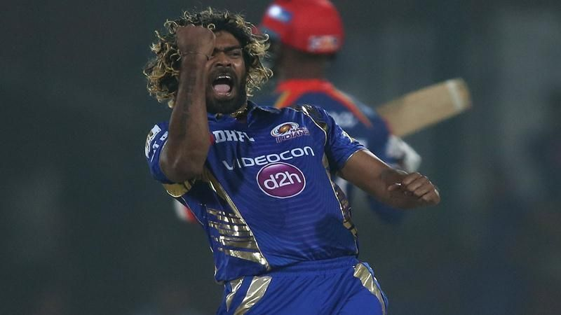 Lasith Malinga celebrates after taking a wicket.
