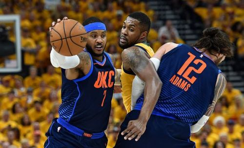 Melo struggled during the Thunder's playoff exit to the Utah Jazz