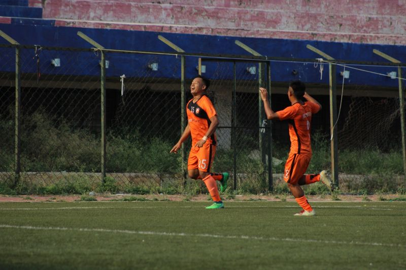 Jotin Singh of SUFC celebrates his goal
