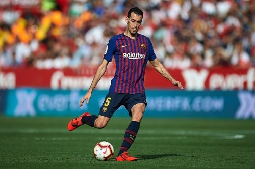 Busquets in action during Barca's 4-2 win over Sevilla late last month