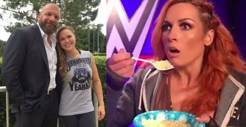 Ronda Rousey (center) is presently involved in a feud with Becky Lynch (right)