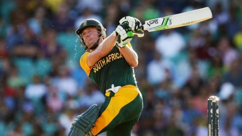 AB hammers the ball over midwicket in a World Cup match en route a bellicose 162* against the Windies