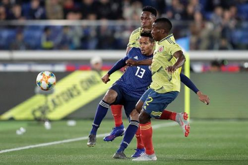 Colombia edged a narrow victory over Japan in a re-run of their World Cup 2018 game at Nissan Stadium, Yokohama