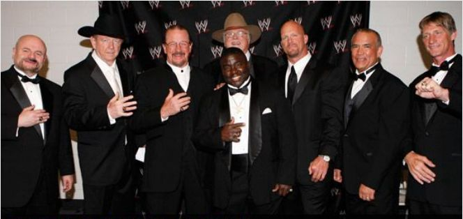 Finkel with the WWE Hall of Fame class of 2009.