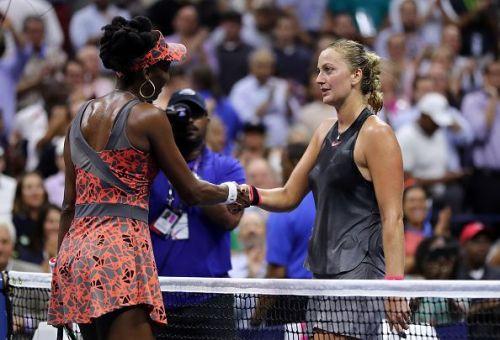 Venus Williams and Petra Kvitova at 2017 US Open Tennis Championships