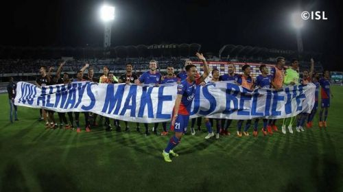 Bengaluru FC players celebrating after the playoff game against NorthEast United.