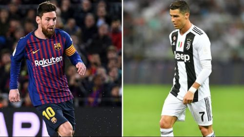 Where do Cristiano Ronaldo and Lionel Messi rank among the top goalscorers from Europe's top five leagues?
