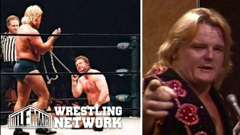 Greg Valentine has Roddy Piper down, but not out, in one of their infamous dog collar matches.