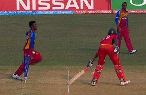 West Indies' Keemo Paul was roundly criticised for mankading a Zimbabwean batsman when his team was in danger of losing an under-19 World Cup game in 2016 (image courtesy: cricket.com.au)