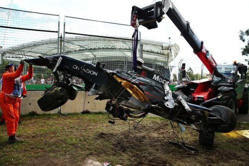Fernando Alonso's McLaren was barely recognisable following his accident