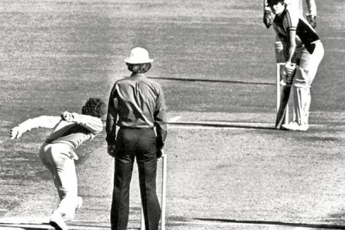 The Infamous Underarm delivery by Trevor Chappell; Image Credits: Newspix