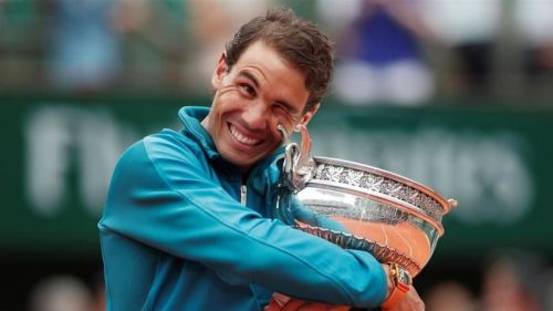 Rafael Nadal after winning the 2018 French Open