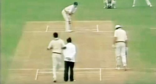 Colin Croft barged into Umpire Fred Goodall in this ill-tempered match